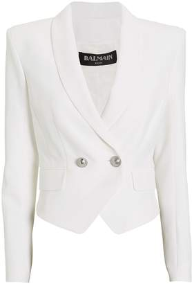 Balmain Crepe Double Breasted Cropped Blazer