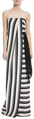 Halston Strapless Striped Gown w/ Tie Waist