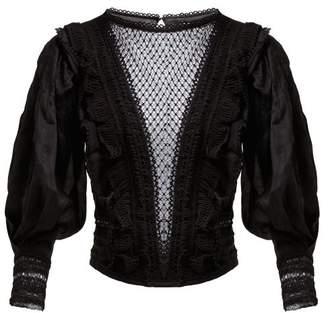 Isabel Marant Rosen Crochet Insert Voile Blouse - Womens - Black