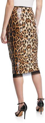 Grey Lab Leopard-Print Sequined Midi Skirt