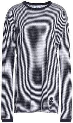 Zoe Karssen Appliquéd Striped Linen-Blend Jersey Top