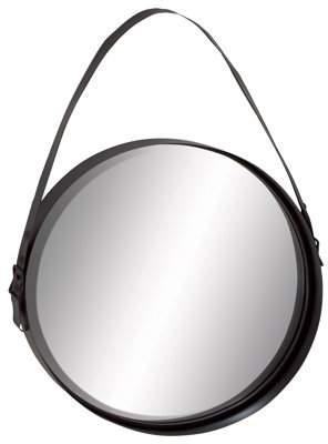 DecMode Decmode Modern 35 Inch Round Metal Wall Mirror with Hanging Strap
