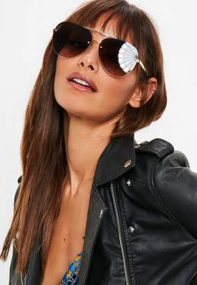 Missguided Quay Australia x Gold/Smoke Fade Cool Innit Sunglasses