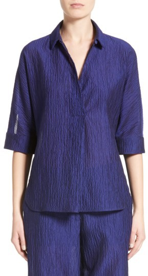 Women's Armani Collezioni Crinkle Cotton & Silk Blend Tunic