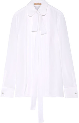 Michael Kors Collection - Pussy-bow Pleated Silk-georgette Blouse - White $1,095 thestylecure.com