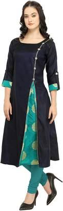 Co Divine International Trading Divine International Women's Taffeta with Jacquard Silk Brocade Anarkali A-Line Long Kurti