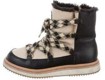 Kate Spade New York Leather Lace-Up Snow Boots