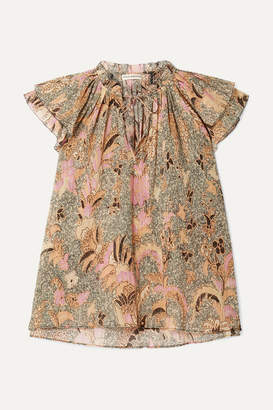 Ulla Johnson Ida Ruffled Printed Metallic Cotton-blend Top - Beige