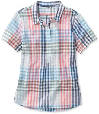 L.L. Bean L.L.Bean Textured Cotton Popover Shirt, Short-Sleeve Gingham