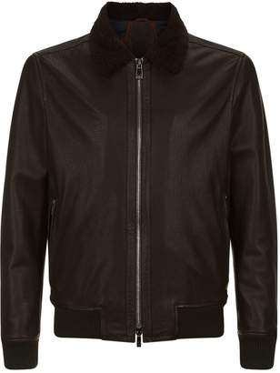 Corneliani Leather Aviator Jacket