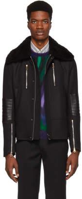 Paul Smith Black Shearling Flight Jacket
