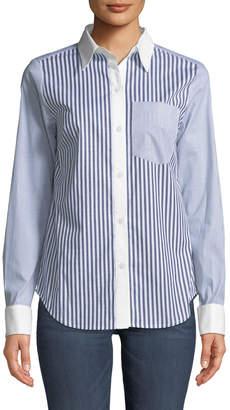 MICHAEL Michael Kors Mixed-Stripe French-Cuff Blouse