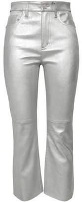 Current/Elliott Metallic Stretch-leather Kick-flare Pants
