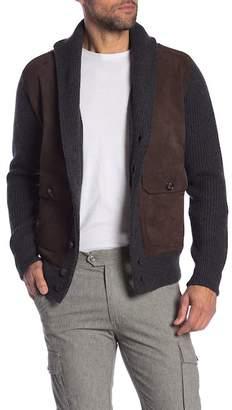 Peter Millar Highland Shawl Collar Leather Detailed Cardigan