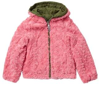London Fog Quilted Reversible Faux Fur Jacket (Big Girls)