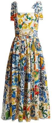 Dolce & Gabbana Majolica Print Cotton Poplin Midi Dress - Womens - White Print