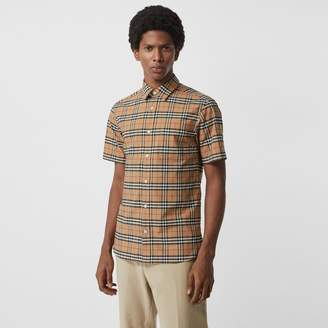 Burberry Short-sleeve Check Stretch Cotton Shirt, Beige