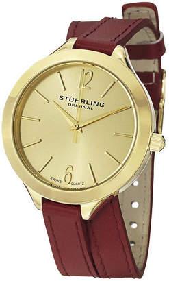 Stuhrling Original Original Womens Red Leather Wrap-Around Strap Watch