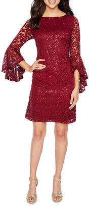 Ronni Nicole 3/4 Bell Sleeve Sequin Lace Sheath Dress