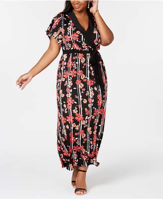 NY Collection Elementz Plus & Petite Plus Size Surplice Printed Maxi Dress