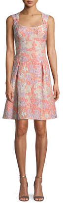Aidan Mattox Floral Brocade Sleeveless Fit-and-Flare Dress