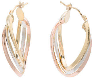 Made In Italy 18k Tricolor Gold Wavy Hope Earrings