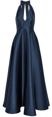 Badgley Mischka Bow-Detailed Cutout Satin-Twill Gown