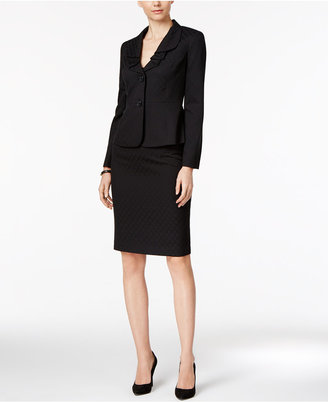 Le Suit Ruffle-Collar Jacquard Skirt Suit $200 thestylecure.com