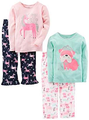 Carter's Simple Joys by Girls' Little Kid 4-Piece Pajama Set