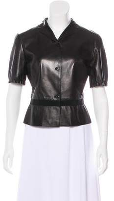 Prada Short Sleeve Leather Top