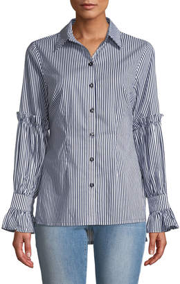 Neiman Marcus Striped Tulip-Sleeve Button-Front Blouse