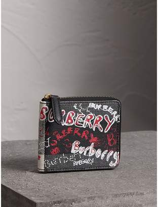 Burberry Doodle Print Coated Check Canvas Ziparound Wallet