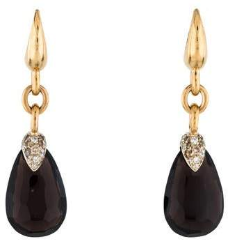 Pomellato 18K Smoky Quartz & Diamond Pin Up Earrings