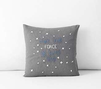 """Pottery Barn Kids Star WarsTM; May The Force Be With You Pillow, 10x10"""", Grey"""