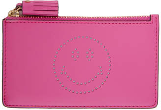 Anya Hindmarch Pink Smiley Zipped Key Card Holder