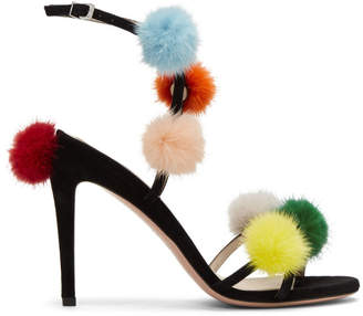 Fendi Black Pom Pom Naked Sandals