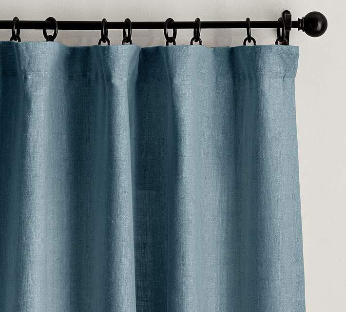 Belgian Flax Linen Drape - Riviera Blue