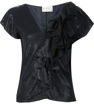 664c80c41831cc Black Silk Ruffle Blouse - ShopStyle