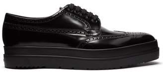 Prada Leather Flatform Brogues - Mens - Black