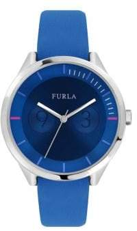 Furla Metropolis Stainless Steel Leather-Strap Watch