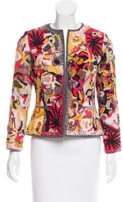 Oscar de la Renta Embellished Patterned Jacket