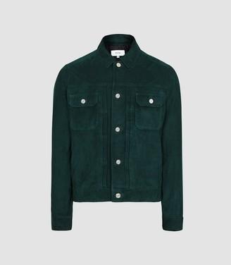 Reiss Scott - Suede Western Jacket in Teal