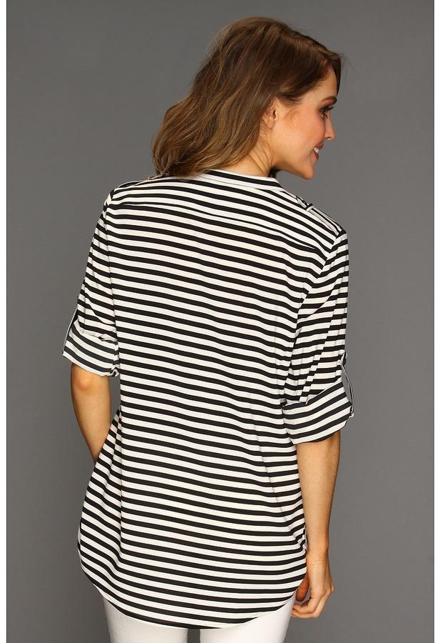 Calvin Klein Striped Crew Roll Sleeve Blouse Women's Blouse