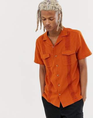 Asos Design DESIGN relaxed texture shirt with crochet trim in rust