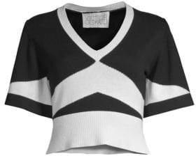 Short Sleeve Knit V-Neck Top