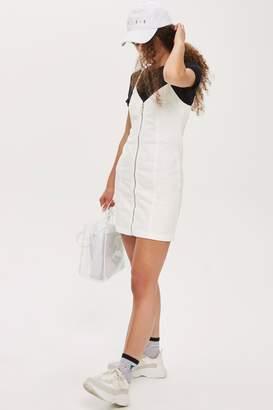 Topshop Zip Through Denim Bodycon Dress