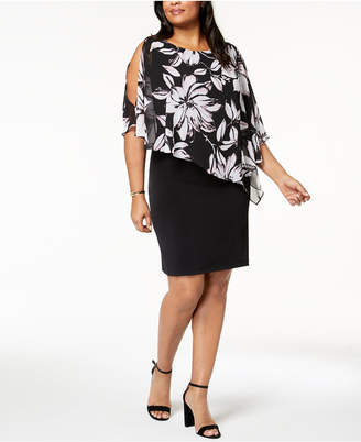 Connected Plus Size Chiffon-Cape Sheath Dress