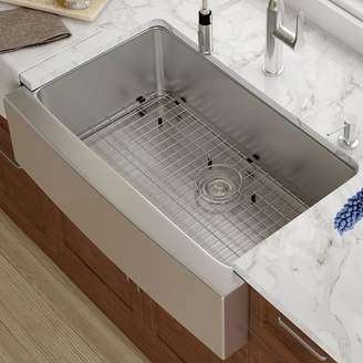 """Kraus 33"""" x 21"""" Farmhouse Kitchen Sink with Drain Assembly"""