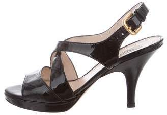 Prada Patent Leather Crossover Sandals