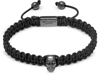 Northskull Atticus Skull Macrame Bracelet In Black And Gunmetal